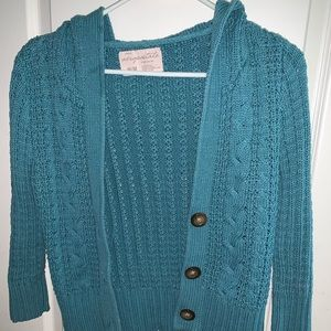 Aeropostale Teal Hooded Button-up Sweater
